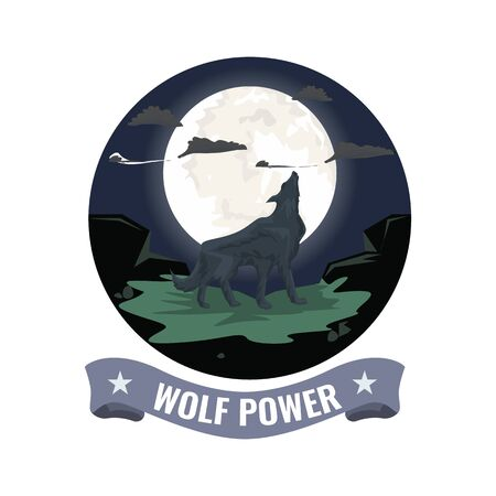 Wolf howling on the mountain with full moon background. Round clipped symbol with ribbon. Flat Vector illustration.
