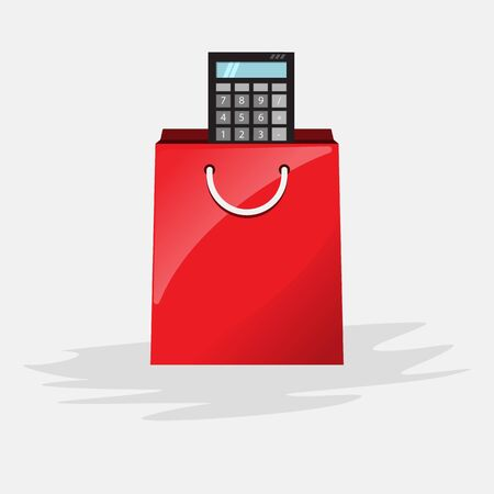 Calculate your shopping. Calculator in shopping bag. Cartoon style vector illustration for your design.
