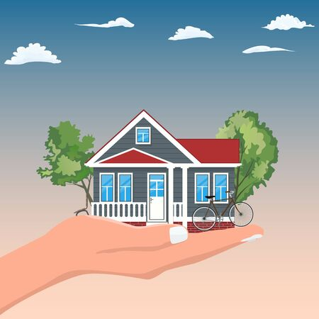 Woman Hand Holding House for real estate offer concept design. Vector illustration. Ilustrace
