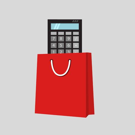 Calculate your shopping. Calculator in shopping bag. Cartoon style vector illustration. Ilustrace
