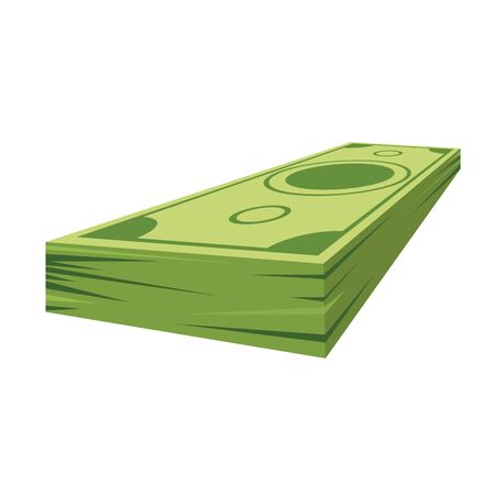 Pile of dollars money with perspective view for your design. Flat and solid color cartoon style vector illustration.