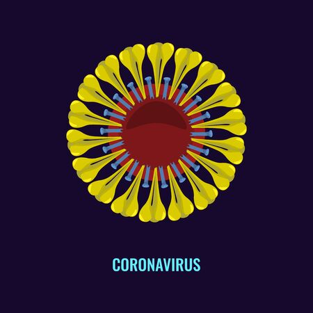 Coronavirus icon sign. Flat and solid color vector illustration. Ilustrace