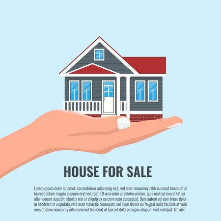 Woman Hand Holding House for real estate offer concept design. Vector illustration. Illustration