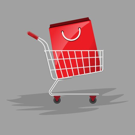 Shopping paper bag in shopping cart. Flat and solid color illustration. Ilustrace