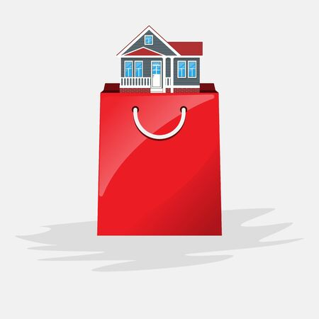 Concept of shopping bag and buying home. Ilustrace
