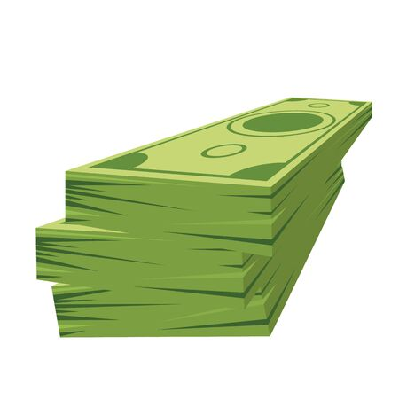 Pile of dollars money with perspective view. Flat and solid color cartoon style Ilustrace