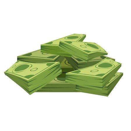 Stack of pile of dollars money with perspective view. Flat and solid color cartoon style vector illustration. Illustration