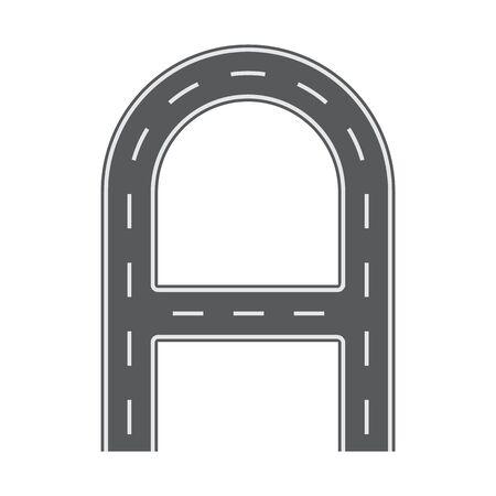 A letter for Road or street font. Flat and solid color vector illustration. Illustration