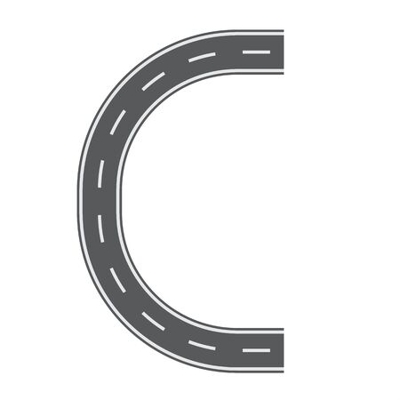 C letter for Road or street font for your design. Flat and solid color vector illustration.