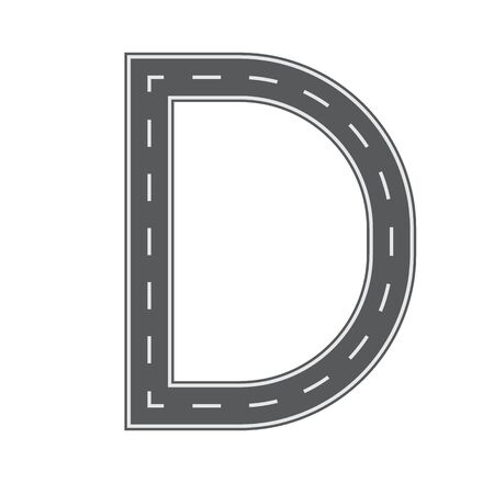 D letter for Road or street font for your design. Flat and solid color vector illustration.