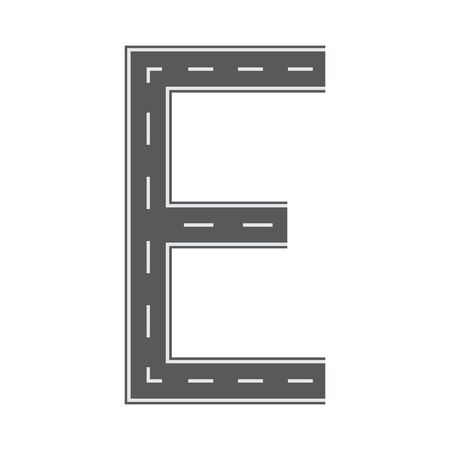 E letter for Road or street font for your design. Flat and solid color vector illustration.