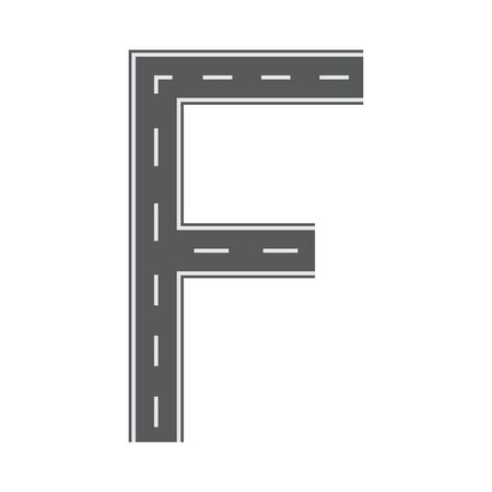 F letter for Road or street font for your design. Flat and solid color vector illustration. Ilustracja