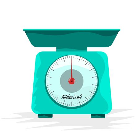 Empty Kitchen scales with cartoon style for your design. Flat and solid color style vector illustration.