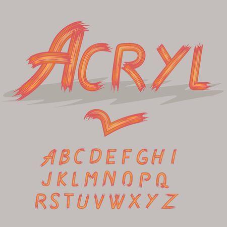 Acrylic paint font alphabet. Brush painted letters. Vector illustration. 일러스트