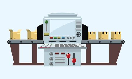The factory conveyor packing boxes. Conveyor Automatic Production Line with Cardboard Boxes. Vector illustration. Çizim