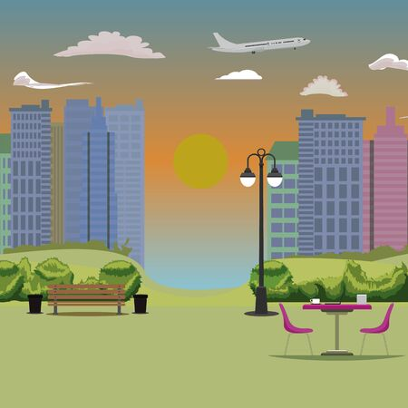 Empty Park with cityscape background. Bench table and chair. Flat vector illustration. 向量圖像