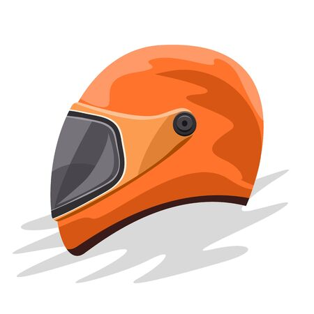 Biker sport race helmet. Flat and solid color cartoon style vector illustration.