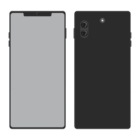 Smartphone with front and back or rear side view. Mobile phone with flat and solid color vector illustration. 向量圖像