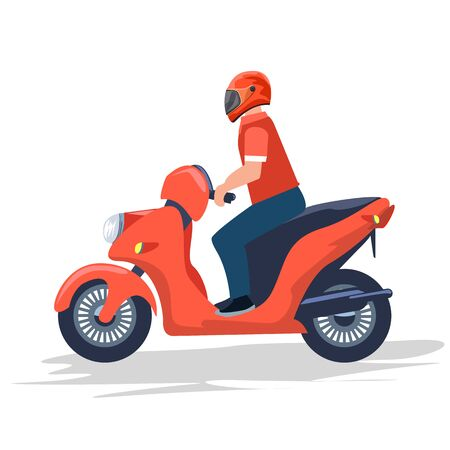 Delivery boy riding red motor bike. Flat and solid color vector illustration.