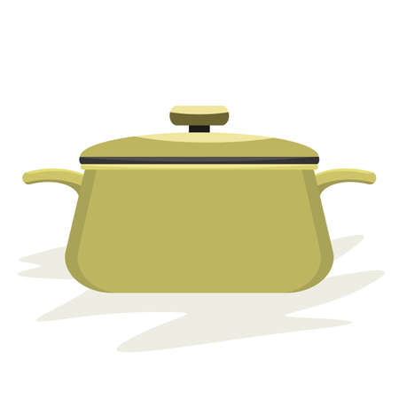 Cooking pot or pan with side view and cover on white