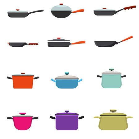 Frying pan and cooking pot set. Kitchen pots and different pans with solid and flat color style. Vector illustration.  イラスト・ベクター素材