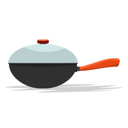 Frying pan with handle and cover. From side view. Flat and solid color vector illustration.