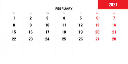 February month for 2021 year planning calendar. Vector illustration.