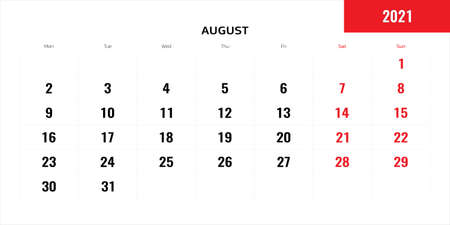 August month for 2021 year planning calendar. Vector illustration.  イラスト・ベクター素材