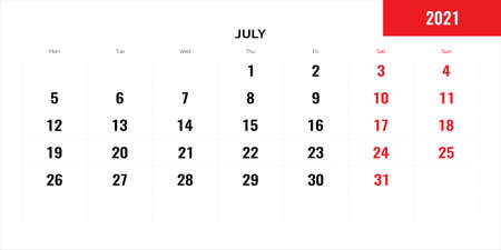 July month for 2021 year planning calendar. Vector illustration.  イラスト・ベクター素材