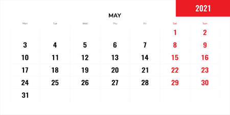 May month for 2021 year planning calendar. Vector illustration.