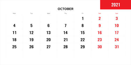 October month for 2021 year planning calendar. Vector illustration.