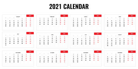 2021 yearly calendar - 12 months yearly calendar set for 2021 year. Vector illustration.