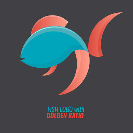 Fish logo template for your badge or symbol design. Made of golden ratio circles. Flat and solid vector illustration.