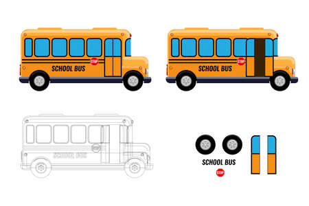 School Bus with separate elements doors open and close for your animation design. Flat and solid vector illustration.
