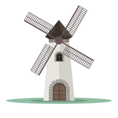 Traditional old windmill building. Flat and solid color vector illustration. Vectores