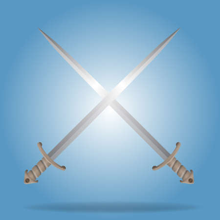 Two crossed Swords Illustration with high detailed and brown handle. Vector illustration.  イラスト・ベクター素材