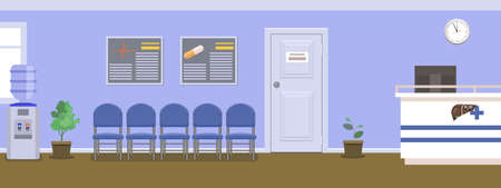 Waiting room for patients in the dental office. Interior building for stomatology concept. Vector in flat style. Ilustração