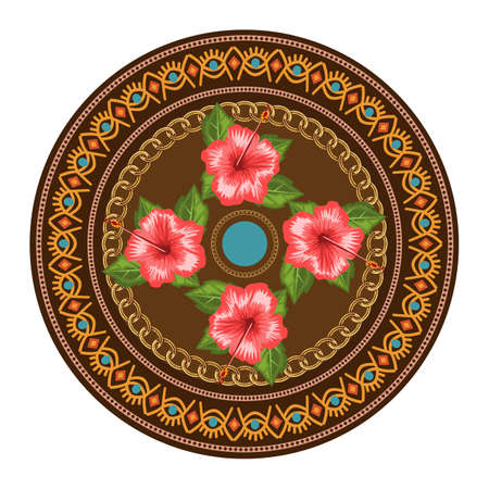Decorative plate with round ornament in ethnic tribal symbols style. Vector illustration.