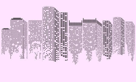 Abstract Futuristic City. Cityscape buildings made up with dots, Digital city landscape. Vector illustration.