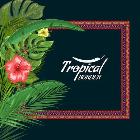 Vector exotic frame with palm leaves and flower with empty copyspace. Flat and solid color style vector illustrartion.
