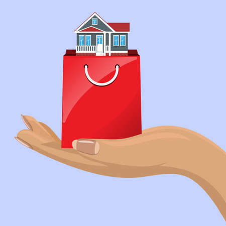 House in shopping bag and female hand. Real estate concept. Vector illustration.