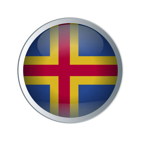 Flag of Aland Islands as round glossy icon. Button with flag design Ilustração