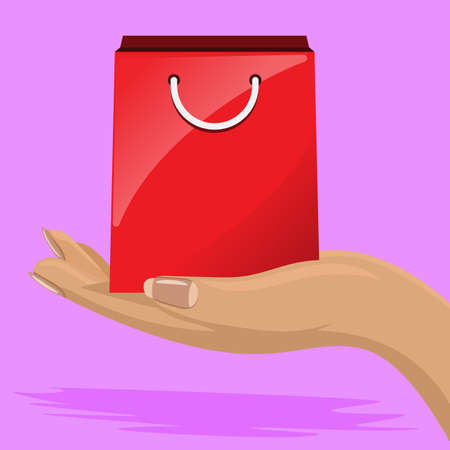 Shiny Shopping bag in female hand. Flat and solid color vector illustration.