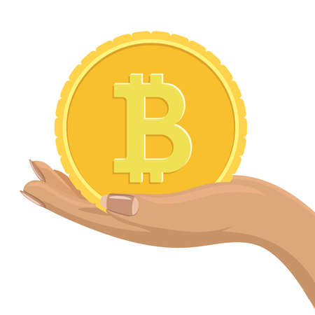 Bitcoin coin in female hand. Flat and solid color vector illustration. Ilustração
