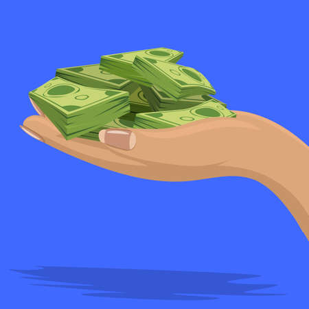 Female Hand showing or holding cash with pay or buying gesture. Finance or bribe concept design. Flat and solid color vector illustration. Side view