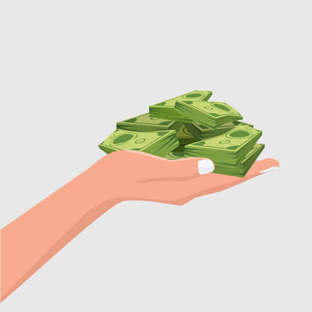 Hand showing or holding cash with pay or buying gesture. Finance or bribe concept design. Flat and solid color vector illustration. Side view Ilustração
