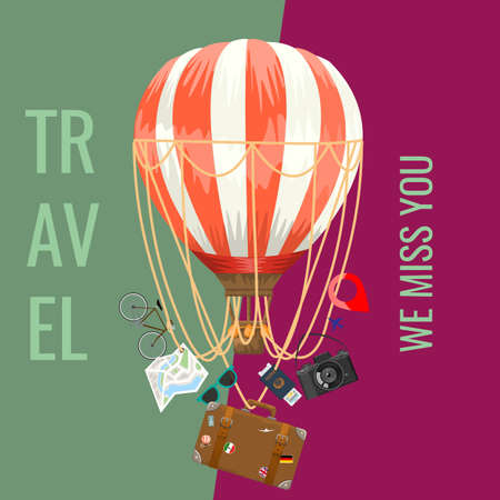 Travel concept adverstisement template ads layout for your design. Air balloon with travel elements. Vector illustration. Ilustração