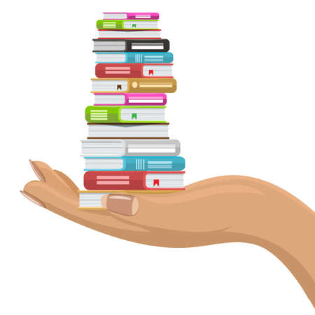 Stack of various books in female hand. Hand holding books. Flat and solid color vector illustration. Banco de Imagens - 164481873
