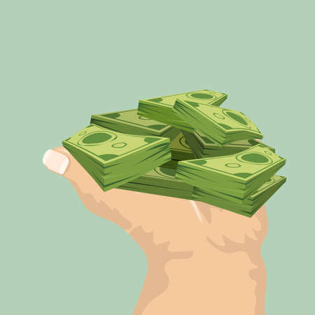 Hand showing or holding cash with pay or buying gesture. Finance or bribe concept design. Flat and solid color vector illustration. Front view