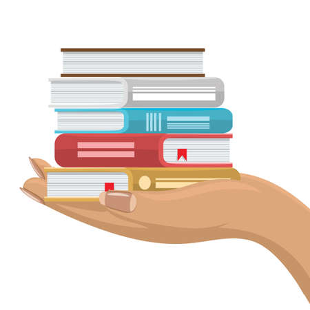 Stack of various books in female hand. Hand holding books. Flat and solid color vector illustration.